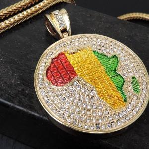 HIP-HOP【2カラー】ヒップホップフェイクゴールドプラチナ/パヴェクリスタル【アフリカメダル】ビッグヘッド ブリンブリン B系|accessoriesgrace