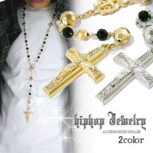 HIP-HOPヒップホップBring Bring ブラック&メタルビーンズロザリオマリアメダイY型ペンダントセット【2Color】 ブリンブリン B系フェイクゴールド|accessoriesgrace