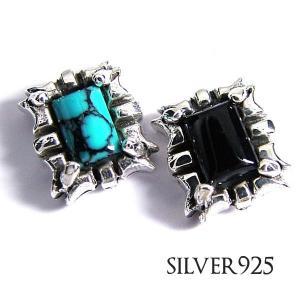 純銀SILVER925ブルーターコイズ/ブラックオニキスから選べるピアス片耳用1ピース|accessoriesgrace