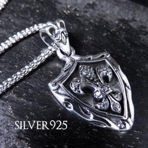 純銀SILVER925CZ/リリーシールドプレートご希望でステンレスチェーン特典付【ブラック/クリア】|accessoriesgrace