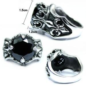 純銀SILVER925/シルバー クラウンカットオニキス&百合紋章リリーリングプレゼントにも  |accessoriesgrace|02