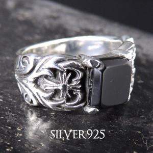 純銀SILVER925/シルバー スクエアオニキス&クロスリングメンズ男性用 プレゼントにも |accessoriesgrace
