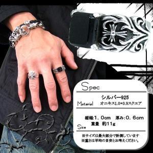 純銀SILVER925/シルバー スクエアオニキス&クロスリングメンズ男性用 プレゼントにも |accessoriesgrace|03