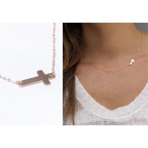 送料無料 シンプル クロス ネックレス レディース プレゼント ゴールド シルバー アクセサリー|accessory-pov