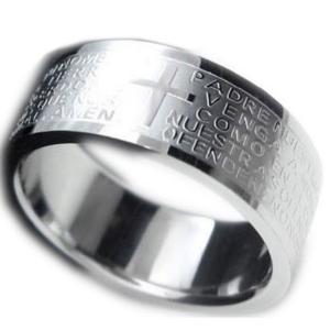 リング 指輪 メンズ アクセ ステンレス アクセサリー  聖書 刻印 クロス シルバー ブラック|accessory-pov