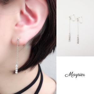 ニューノンホールピアス 揺れダイヤチェーン ロジウム マルピア|accessoryjapan