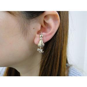 痛くないイヤリング しっぽ猫片耳用 クリスタル ピナチョコ|accessoryjapan