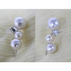 痛くないイヤリング コットンパール シルバー ピナチョコ|accessoryjapan