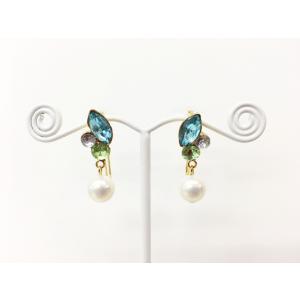 痛くないイヤリング ビジューアクアマリン ピナチョコ|accessoryjapan
