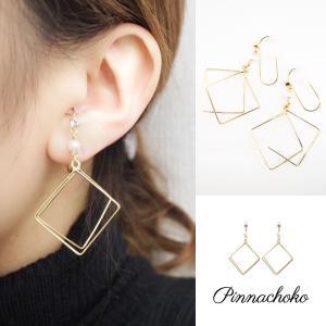 痛くないイヤリング ワイヤーアート Wスクエア ゴールド ピナチョコ|accessoryjapan