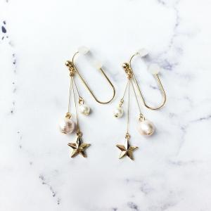 痛くないイヤリング 揺れ2連パール&スター ピンク ピナチョコ|accessoryjapan