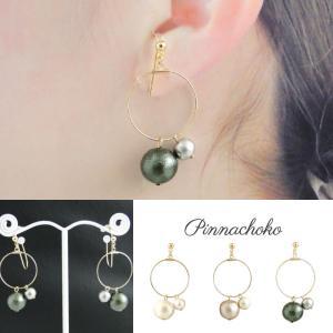 痛くないイヤリング ワイヤーフープ&2連コットンパール オリーブグリーン ピナチョコ|accessoryjapan