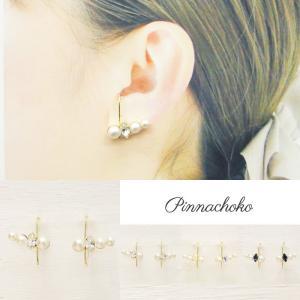 痛くないイヤリング ラインパール&スワロ クリスタル ピナチョコ|accessoryjapan