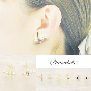 痛くないイヤリング ラインパール&スワロ オーロラ ピナチョコ|accessoryjapan
