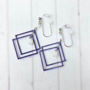 痛くないイヤリング  カラフルWスクエア パープル   ピナチョコ|accessoryjapan