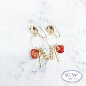 痛くないイヤリング 揺れごちゃメタルとべっ甲  ピナチョコ|accessoryjapan