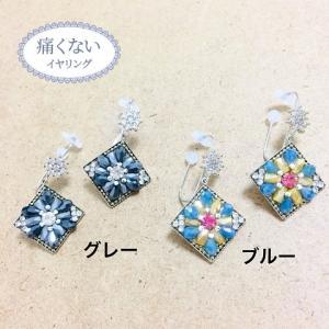 痛くないイヤリング ガラス花模様イヤリング ピナチョコ|accessoryjapan
