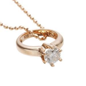 18金ピンクゴールド×ダイヤモンドベビーリングネックレス 4月誕生石