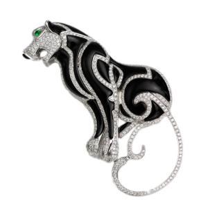 K18WG オニキス グリーンガーネット ツァボライト ダイヤモンド計1.65ct 黒豹ブローチ