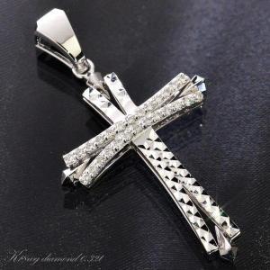 即納 メンズペンダントトップ k18 18金 ホワイトゴールド クロス ダイヤモンド 男性用 刻印入り 鑑別書付き|accessorymart