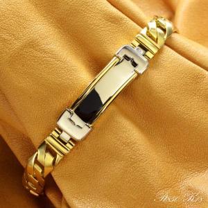 18金 喜平 コンビ プレート ブレスレット K18 プラチナ メンズ Pt850 ゴールド 45g 日本製 刻印入り メンズ レディース キヘイ 長さ指定可能|accessorymart