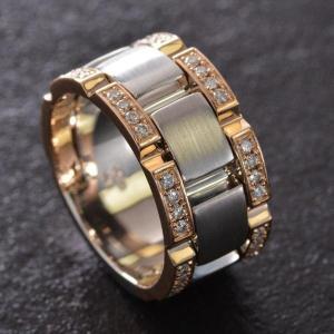 指輪 メンズリング 18金 K18 18K ピンクゴールド ダイヤモンド 幅広 日本製 男性用 刻印入り|accessorymart