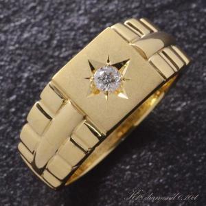 指輪 メンズリング 18金 K18 18K ゴールド ダイヤモンド 印台 後光留め 男性用 日本製 ...