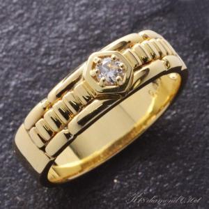 メンズリング 18金 K18 ダイヤモンド 指輪 男性用