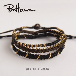 【Set of  3/ブラック】ロンハーマン wakami  3本セットブレスレット ユニセックス