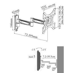 壁掛けテレビ テレビ台 金物 22-40型 アーム付/VESA 液晶TV - LCD-ACE-2602 テレビ TV 壁掛け 壁掛け金具 壁掛金具 アーム式|ace-of-parts|08
