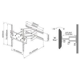 壁掛けテレビ テレビ台 TV 金物 テレビ壁掛け金具 32-55型 軽量コンパクトアーム式/液晶TV - PLB-ACE-147M|ace-of-parts|11