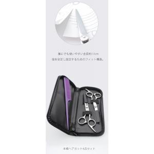 散髪ハサミセット 5点セット カットバサミ スキバサミ コーム シザーケース ラバークッション|acehigh|05