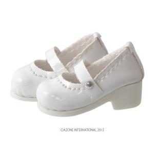 1/12 ピコD ストラップシューズ(グロスホワイト) [アゾン 人形用靴] acodolls