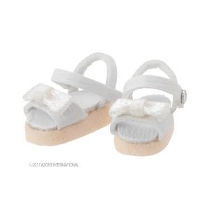 1/12 リボンストラップサンダル(ホワイト) [アゾン 人形用靴]|acodolls