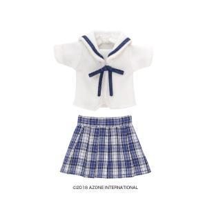 1/12 白襟チェックセーラー服set(ブルーチェック) [アゾン 人形用洋服]|acodolls