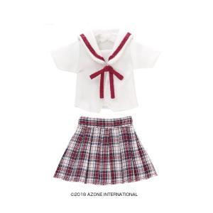 1/12 白襟チェックセーラー服set(レッドチェック) [アゾン 人形用洋服]|acodolls