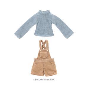 1/12 ピコD ほっこりサロペットset(ブルー×ライトブラウン) [アゾン 人形用洋服]|acodolls