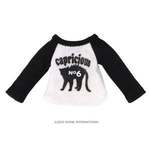 1/12 にゃんこラグランTシャツ(ブラック×ホワイト) [アゾン 人形用洋服]|acodolls