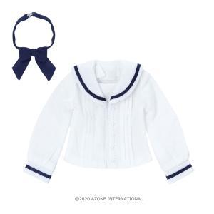 PNXS セーラーリボンブラウス II(ホワイト×ネイビー) [アゾン 人形用洋服]|acodolls