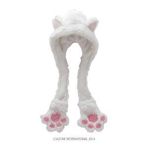 PNS こもれび森のお洋服屋さん♪「にゃんこフードマフラー」(ホワイト) [アゾン 人形用衣装]|acodolls