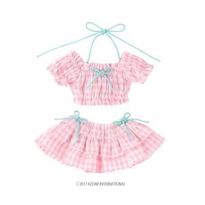 PNS ギンガムチェックパフスリーブビキニset(ピンクチェック) [アゾン 人形用洋服]|acodolls