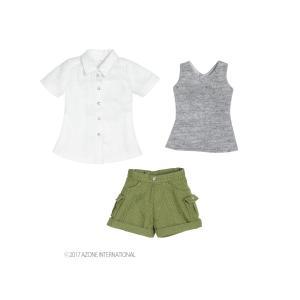 PNS ハイキングパンツset(ホワイト×カーキ) [アゾン 人形用洋服] acodolls