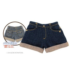 PNS デニムロールアップショートパンツ(ネイビー) [アゾン 人形用洋服]|acodolls