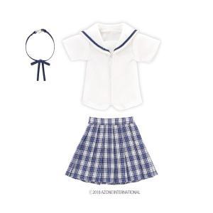 PNM 白襟チェックセーラー服set(ブルーチェック) [アゾン 人形用洋服]|acodolls