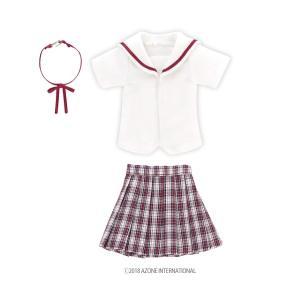 PNM 白襟チェックセーラー服set(レッドチェック) [アゾン 人形用洋服]|acodolls