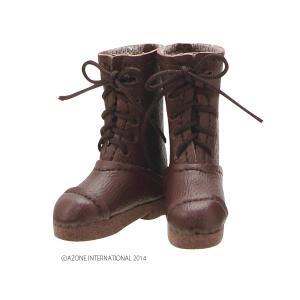 PN こもれび森のお洋服屋さん♪ ぽっこり編上げブーツ(ダークブラウン) [アゾン 人形用靴]|acodolls