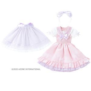 45 スウィートセーラーワンピース(ピンク×ラベンダーリボン) [アゾン 45cm人形用衣装]|acodolls
