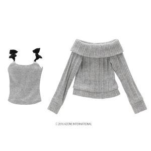 50 リボンキャミ&オフショルダーニットset(グレー×ブラック) [アゾン 50cm人形用洋服]|acodolls