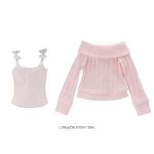 50 リボンキャミ&オフショルダーニットset(ピンク×ホワイト) [アゾン 50cm人形用洋服]|acodolls