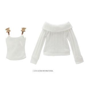 50 リボンキャミ&オフショルダーニットset(オフホワイト×ブラウン) [アゾン 50cm人形用洋服]|acodolls